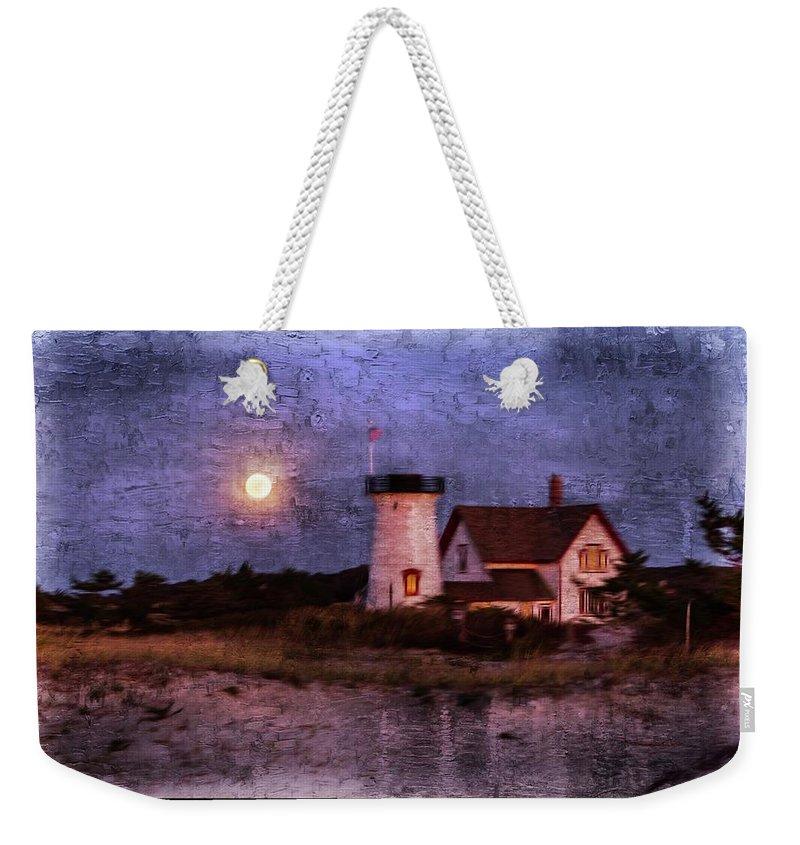 Landscape Weekender Tote Bag featuring the digital art Moonlit Harbor by Patrice Zinck