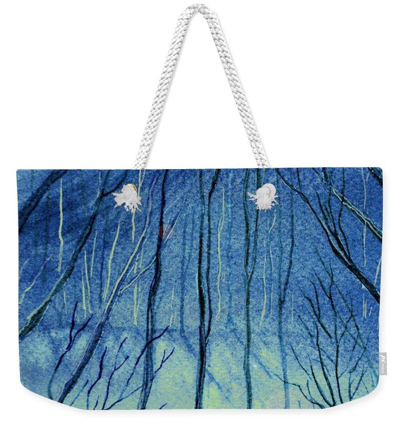 Watercolor Weekender Tote Bag featuring the painting Moonlit In Blue by Brenda Owen