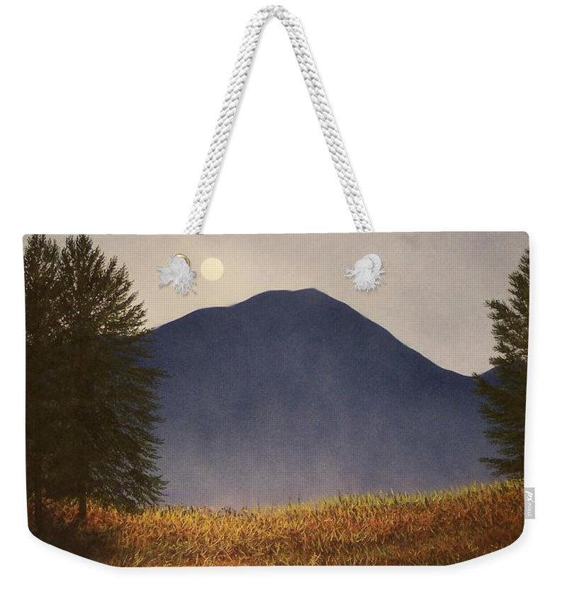 Mountains Weekender Tote Bag featuring the painting Moonlit Mountain Meadow by Frank Wilson