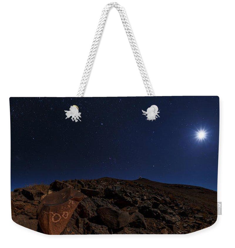 Moonlit Weekender Tote Bag featuring the photograph Moonlit Night, Atacama Desert, Chile by Babak Tafreshi