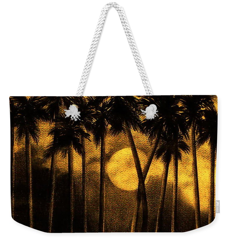 Moonlit Palm Trees In Yellow Weekender Tote Bag featuring the mixed media Moonlit Palm Trees In Yellow by Larry Lehman