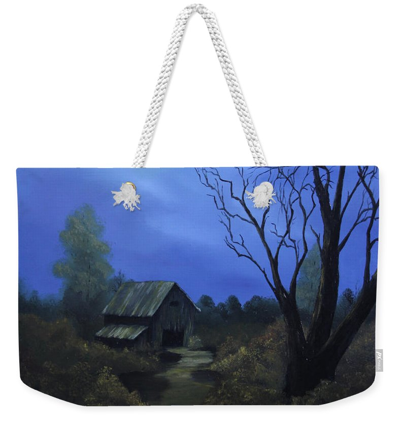Landscape Weekender Tote Bag featuring the painting Moonlit Path by Johanna Lerwick