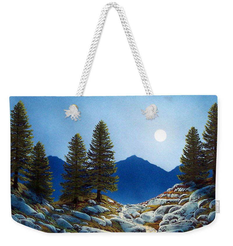 Landscape Weekender Tote Bag featuring the painting Moonlit Trail by Frank Wilson