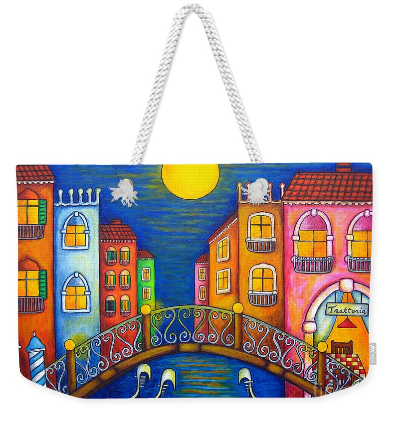 Venice Weekender Tote Bag featuring the painting Moonlit Venice by Lisa Lorenz