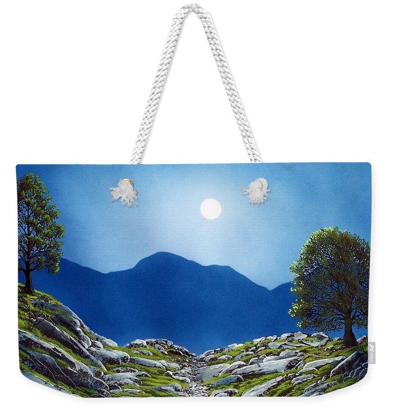 Landscape Weekender Tote Bag featuring the painting Moonrise by Frank Wilson