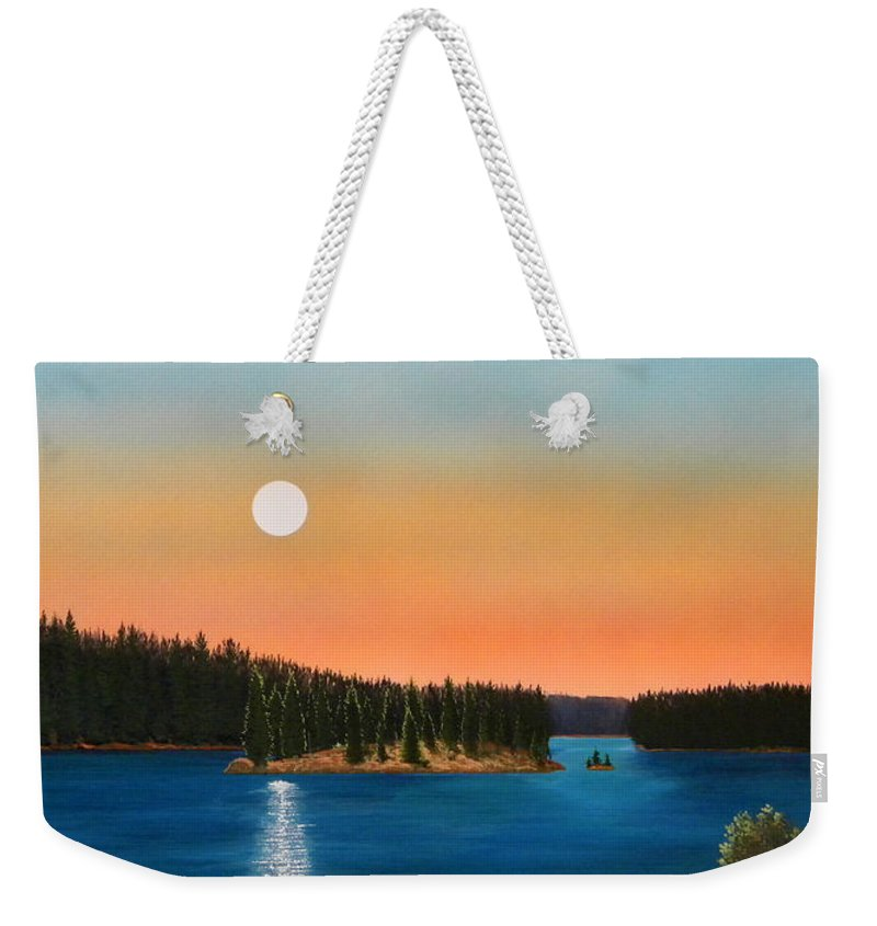 Landscape Weekender Tote Bag featuring the painting Moonrise Over The Lake by Frank Wilson