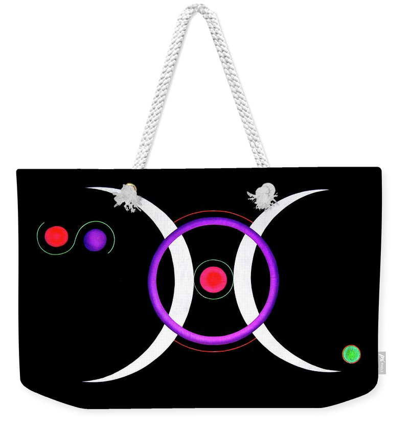 Acrylic Weekender Tote Bag featuring the painting Moons by Heather Crowther