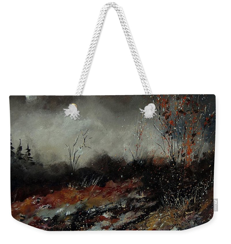 Landscape Weekender Tote Bag featuring the painting Moonshine 459001 by Pol Ledent
