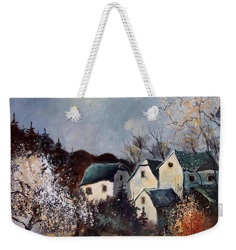 Village Weekender Tote Bag featuring the painting Moonshine by Pol Ledent