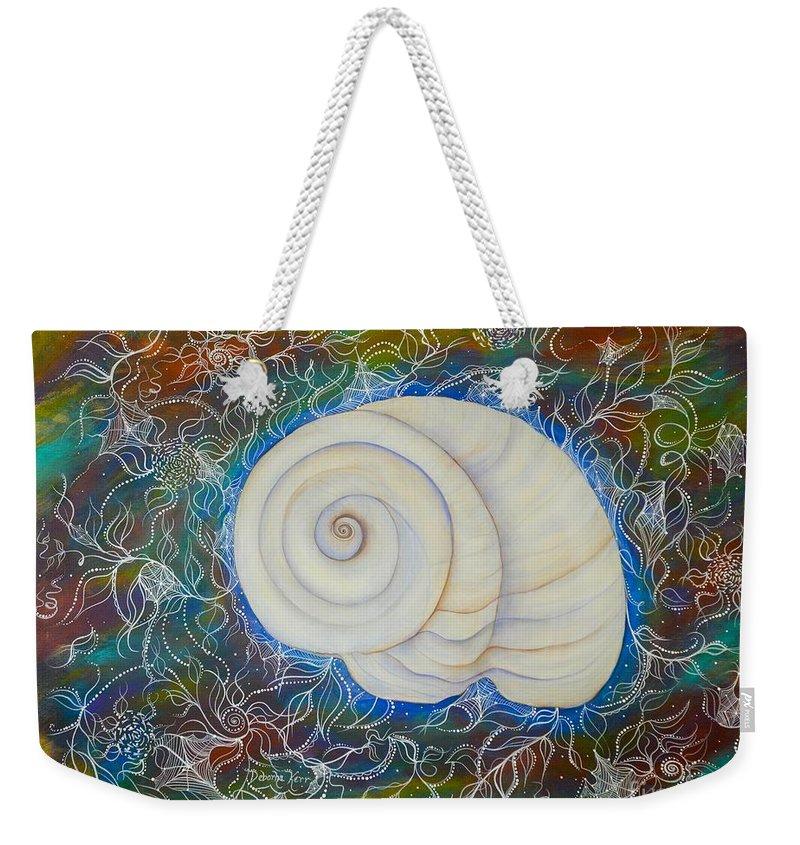 Moonsnail Weekender Tote Bag featuring the painting Moonsnail Lace by Deborha Kerr