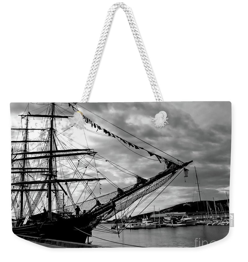 Black And White Photo Weekender Tote Bag featuring the photograph Moored At Hobart Bw by Tim Richards