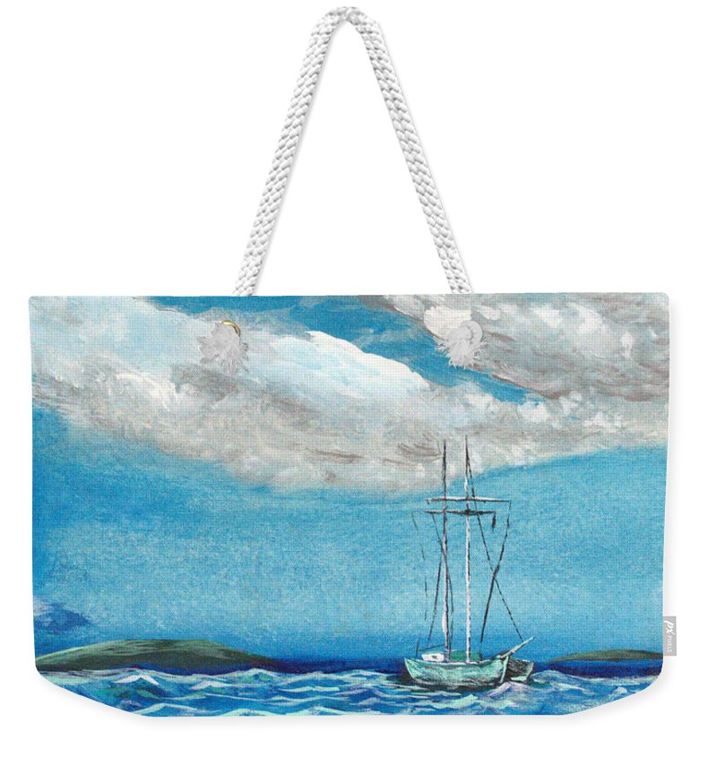 Impressionism Weekender Tote Bag featuring the painting Moored In The Bay by J R Seymour
