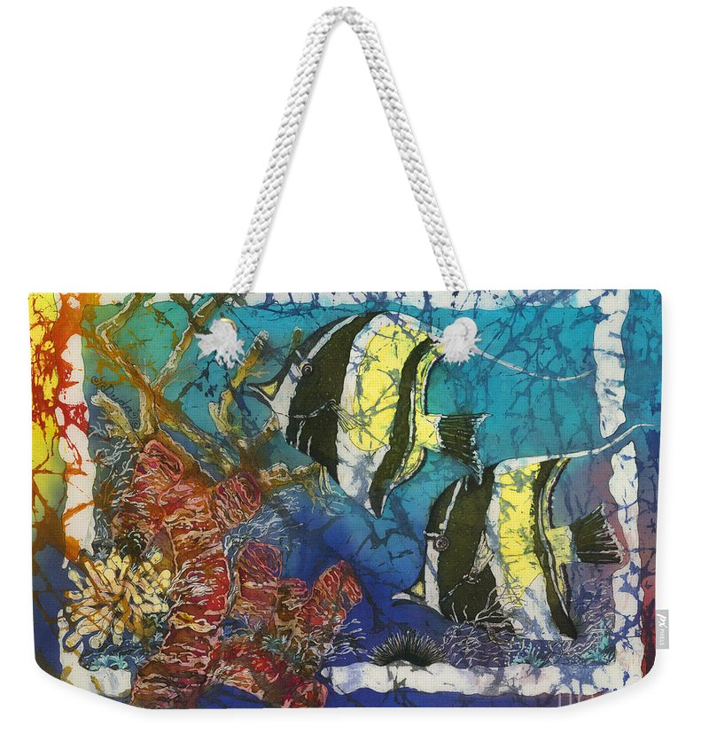 Moorish Idols Weekender Tote Bag featuring the painting Moorish Idols by Sue Duda