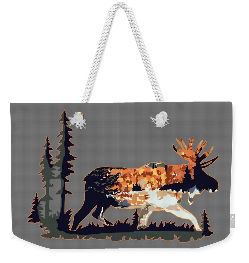 Moose Weekender Tote Bag featuring the digital art Moose by Victoria Sinkevych