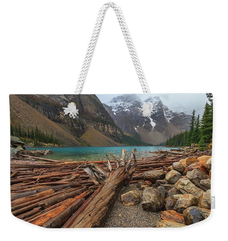 Alberta Weekender Tote Bag featuring the photograph Moraine by Brian Catania