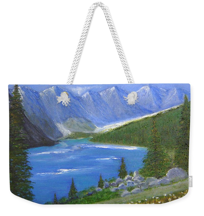 Landscape Weekender Tote Bag featuring the painting Moraine Lake, 16x20, Oil, '07 by Lac Buffamonti