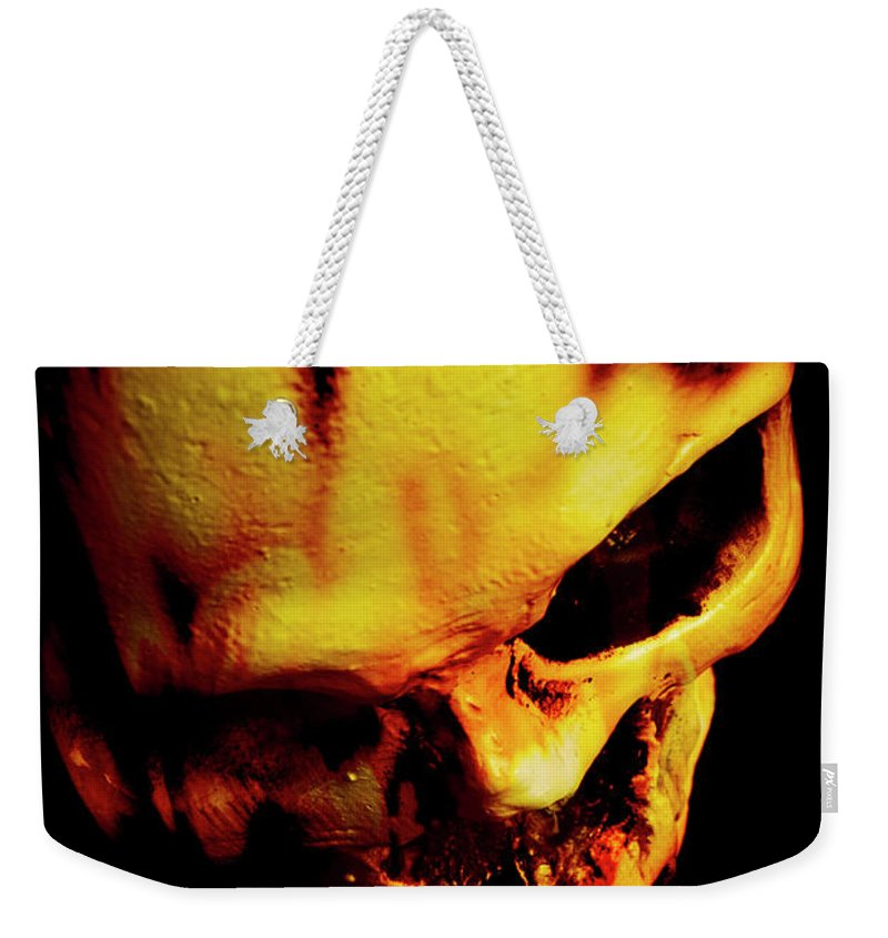 Horror Weekender Tote Bag featuring the photograph Morbid Decaying Skull by Jorgo Photography - Wall Art Gallery