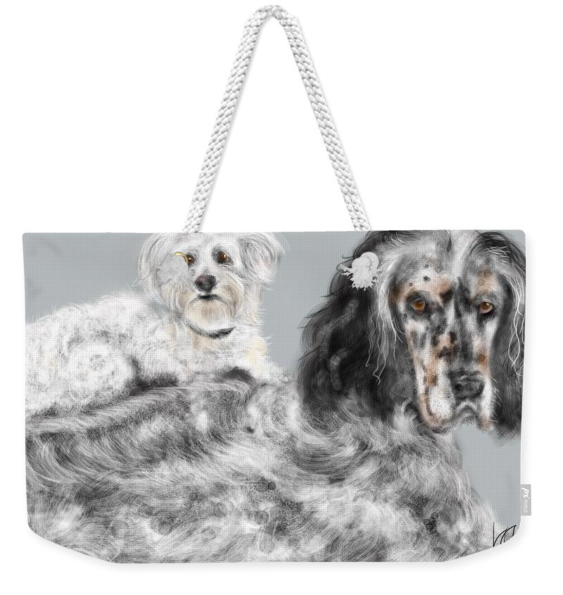 Animals Weekender Tote Bag featuring the painting More Best Buds by Lois Ivancin Tavaf