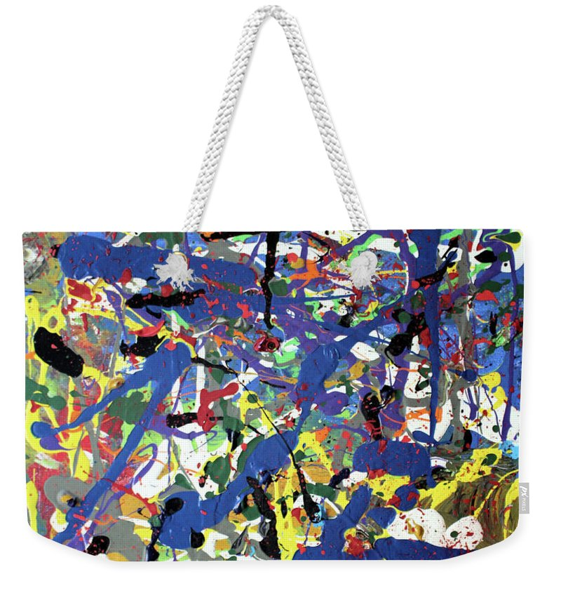 Blue Weekender Tote Bag featuring the painting More Blueness by Pam Roth O'Mara