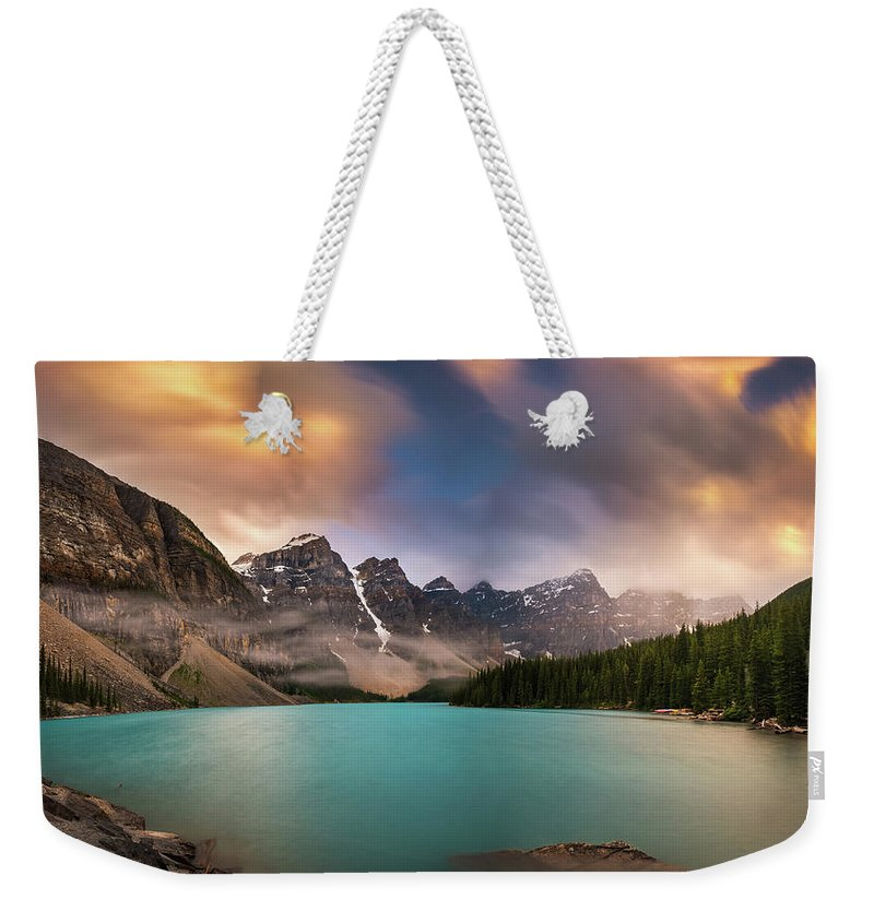 America Weekender Tote Bag featuring the photograph More Rain At Moraine Lake by William Freebilly photography