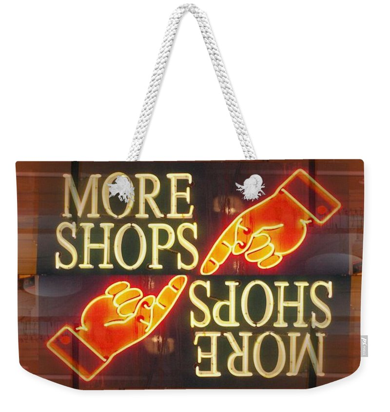 Seattle Weekender Tote Bag featuring the digital art More Shops by Tim Allen