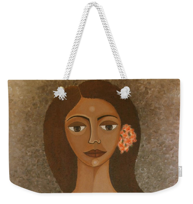 Oil Weekender Tote Bag featuring the painting More Than Flowers She Sold Illusions by Madalena Lobao-Tello