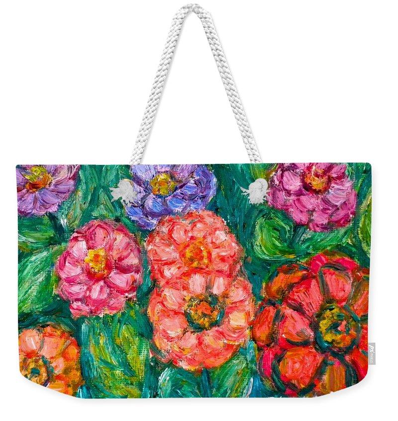 Flowers Weekender Tote Bag featuring the painting More Zinnias by Kendall Kessler