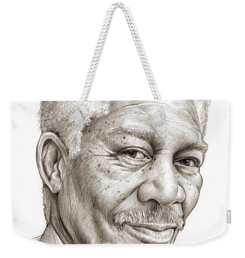 Morgan Freeman Weekender Tote Bag featuring the drawing Morgan Freeman by Greg Joens