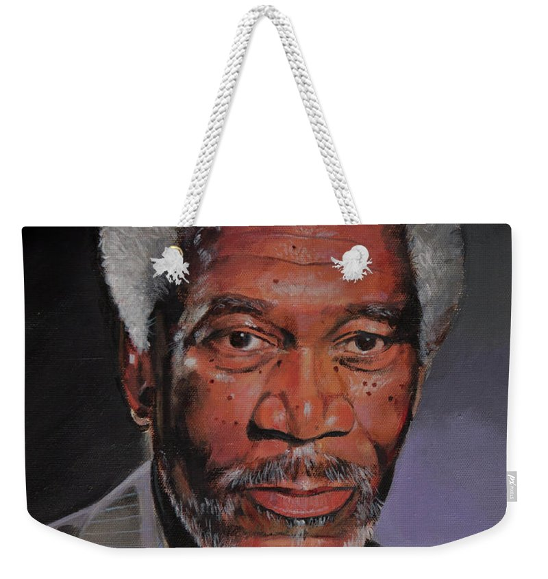 Morgan Freeman Portrait Weekender Tote Bag featuring the painting Morgan Freeman Portrait by Bill Dunkley