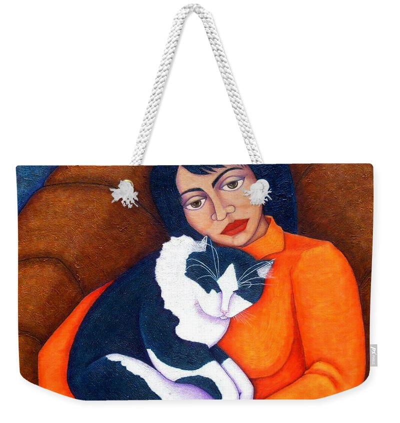 Woman Weekender Tote Bag featuring the painting Morgana With Woman by Madalena Lobao-Tello