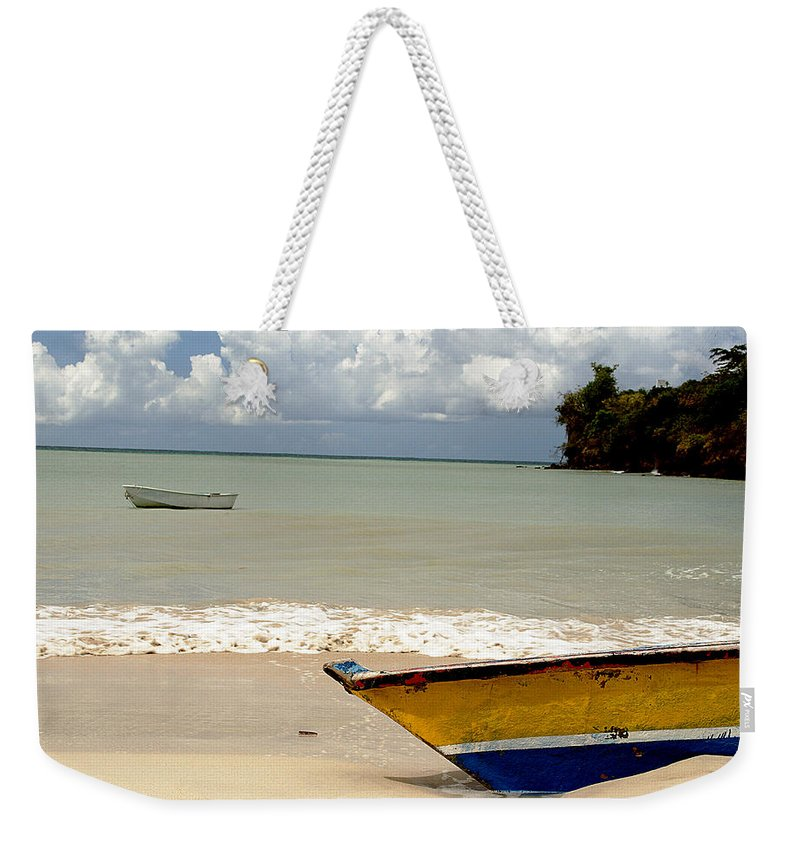 Boat Weekender Tote Bag featuring the photograph Morne Rouge Boats by Jean Macaluso