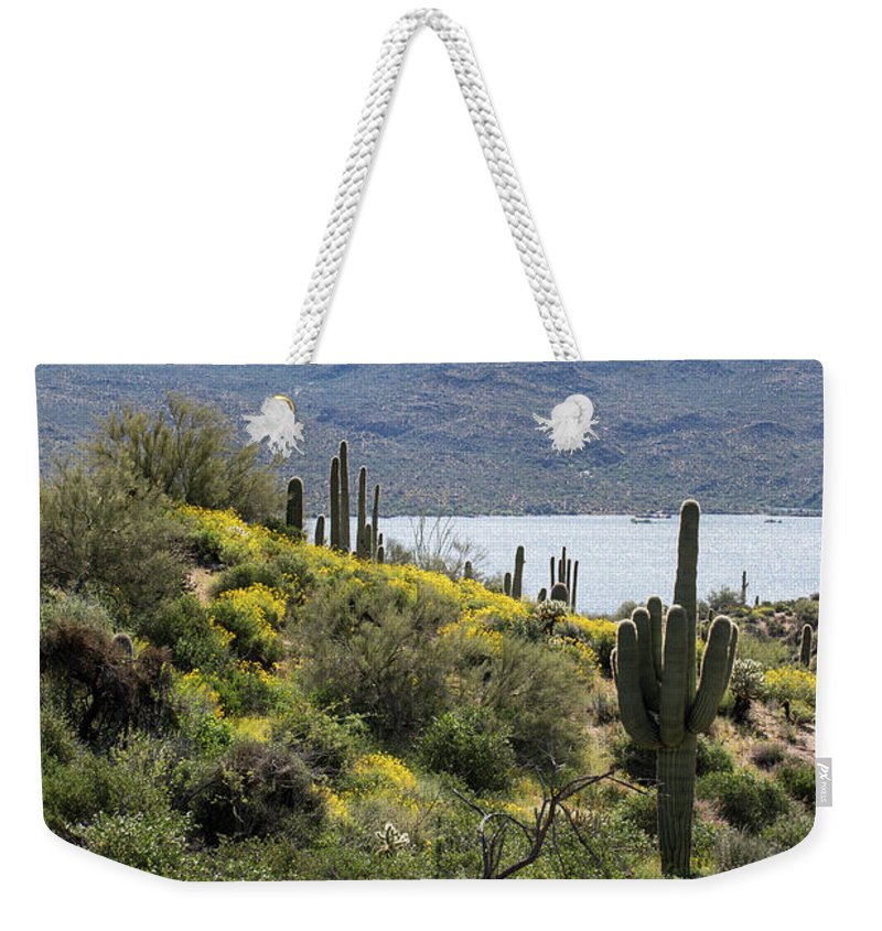 Arizona Weekender Tote Bag featuring the photograph Morning At Bartlett Lake by Cathy Franklin