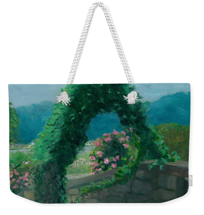 Landscape Weekender Tote Bag featuring the painting Morning At Harkness Park by Paula Emery