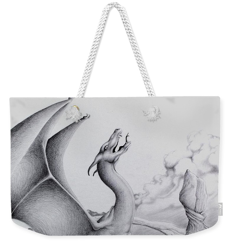 Dragon Weekender Tote Bag featuring the digital art Morning Bellow by Robert Ball