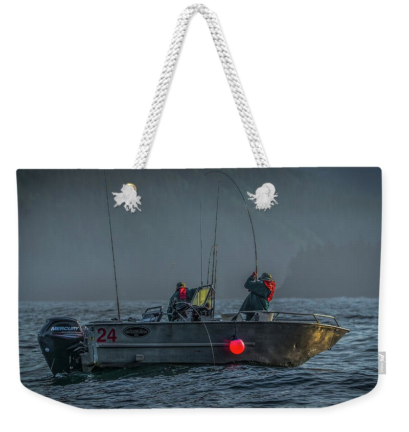 Fishing Weekender Tote Bag featuring the photograph Morning Catch by Jason Brooks