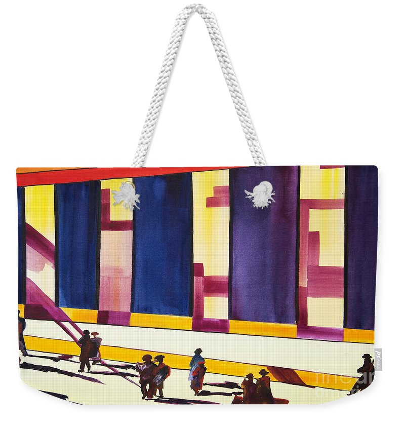 Figures Weekender Tote Bag featuring the painting Morning Commute by JoAnn DePolo