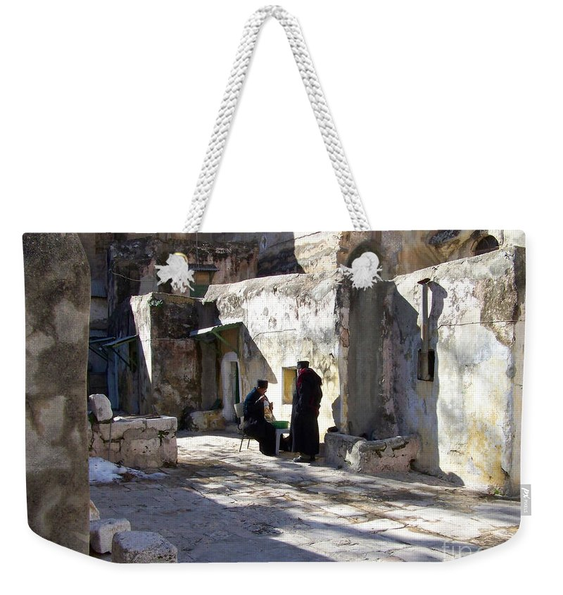Jerusalem Weekender Tote Bag featuring the photograph Morning Conversation by Kathy McClure