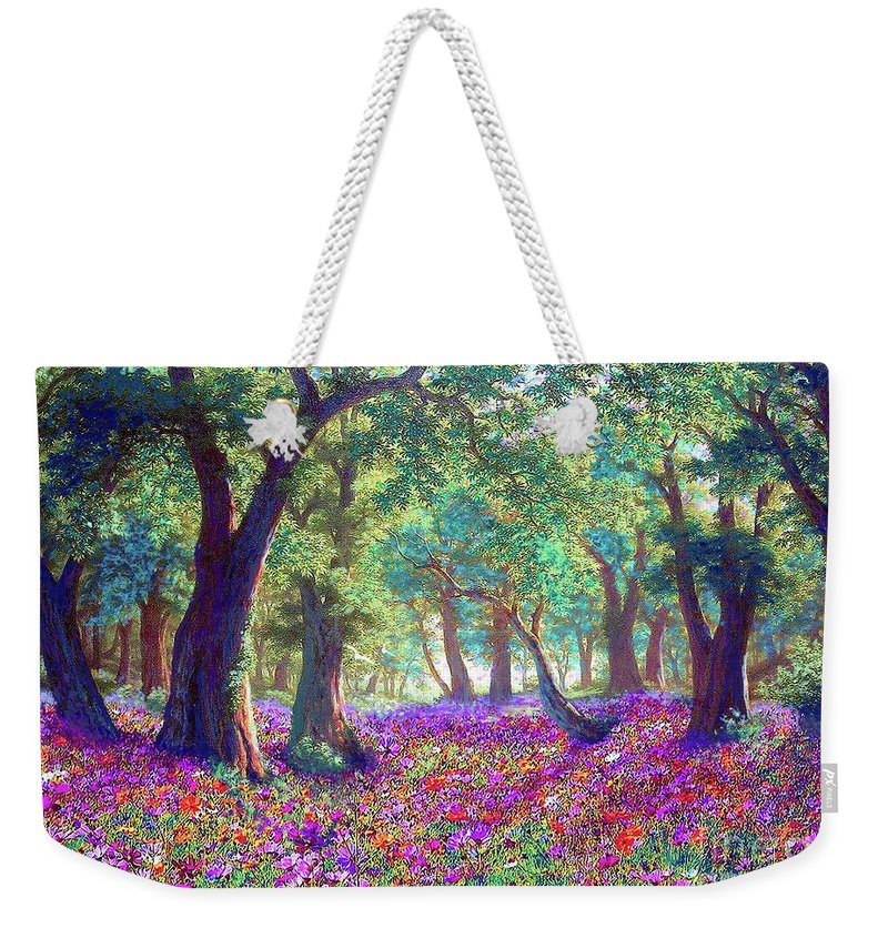 Sun Weekender Tote Bag featuring the painting Morning Dew by Jane Small