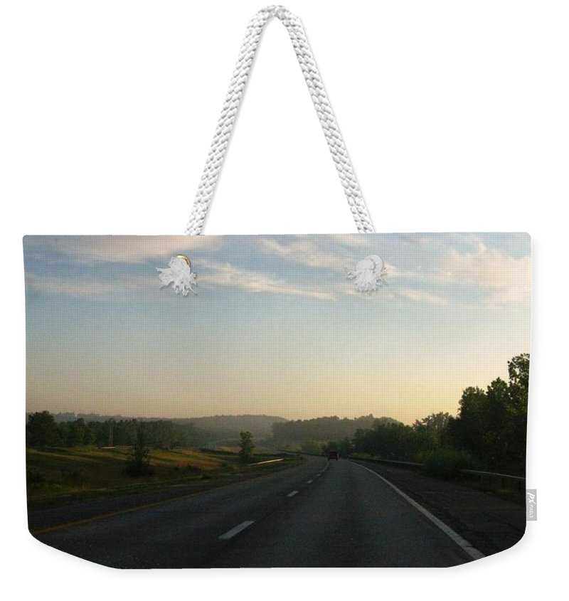 Landscape Weekender Tote Bag featuring the photograph Morning Drive by Rhonda Barrett