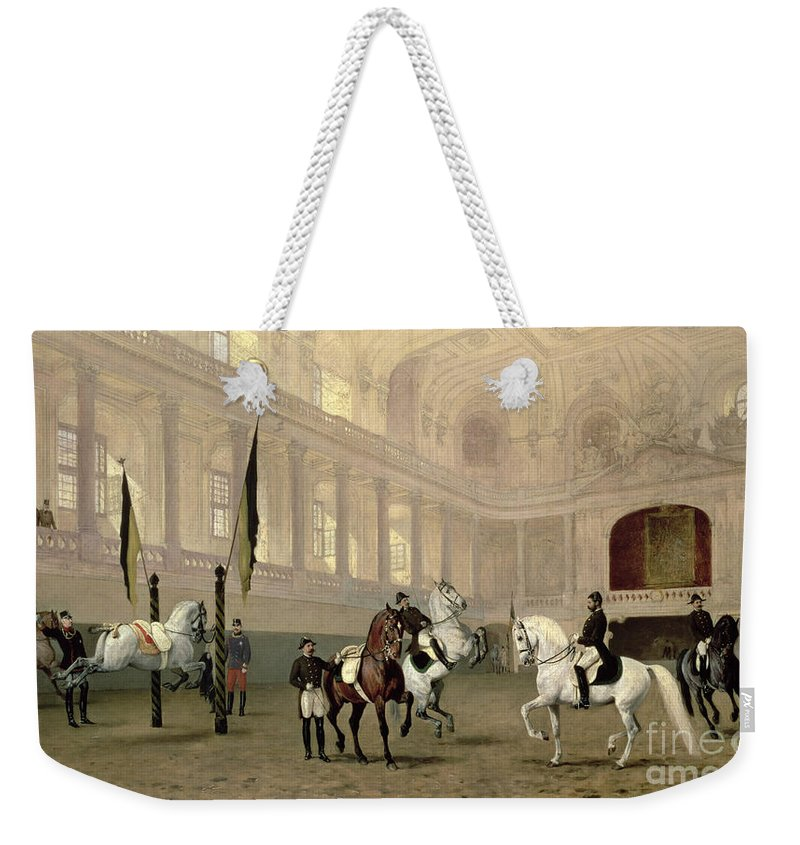 Morning Weekender Tote Bag featuring the painting Morning Exercise In The Hofreitschule by Julius von Blaas