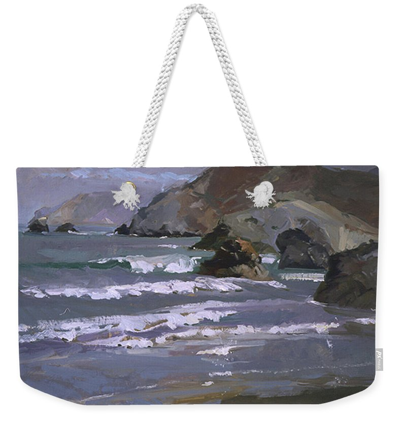 Seascape Weekender Tote Bag featuring the painting Morning Fog Shark Harbor - Catalina Island by Betty Jean Billups