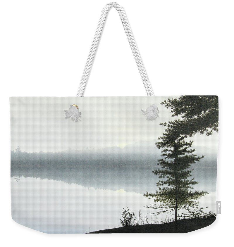 Landscapes Weekender Tote Bag featuring the painting Morning Fog by Kenneth M Kirsch