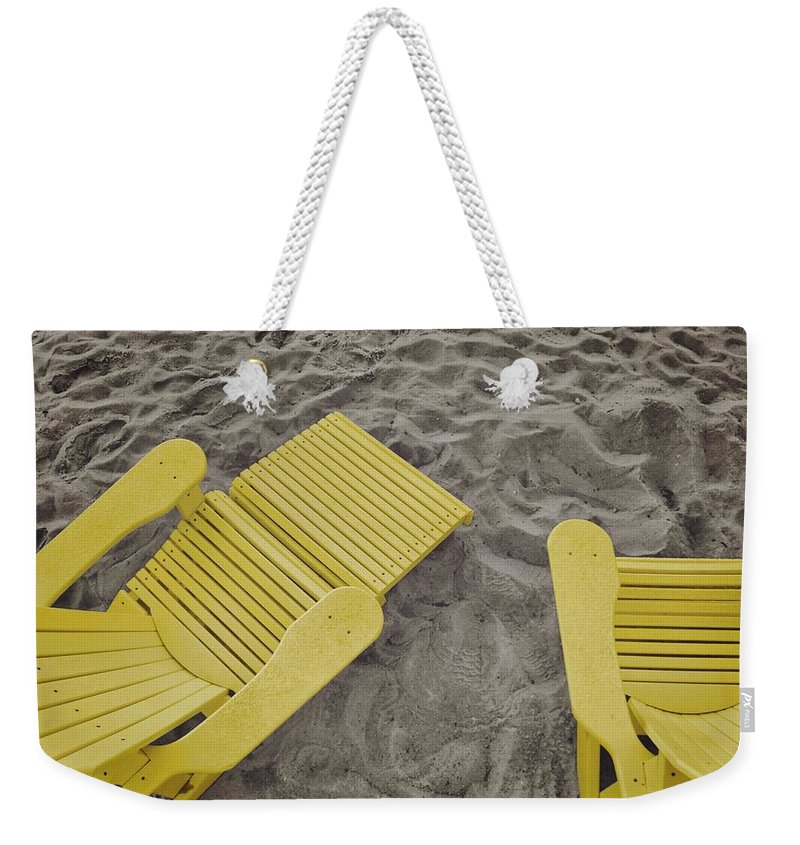 Beach Weekender Tote Bag featuring the photograph Morning Footsteps by JAMART Photography