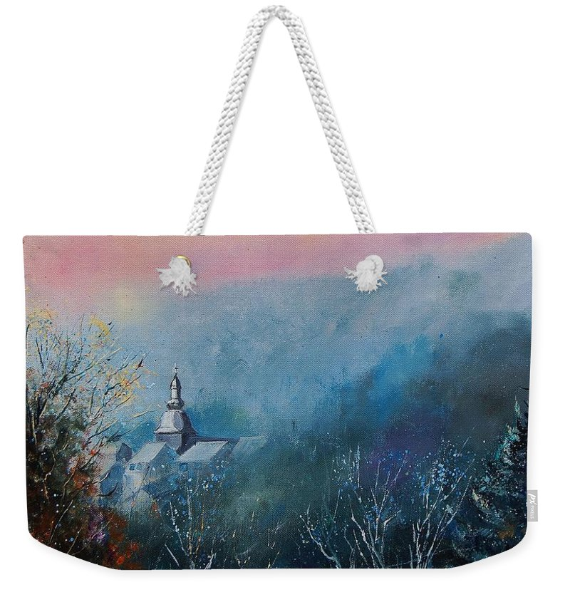 Winter Weekender Tote Bag featuring the painting Morning Frost by Pol Ledent
