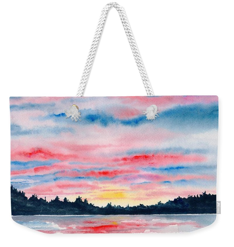 Watercolor Weekender Tote Bag featuring the painting Morning Glory by Brenda Owen