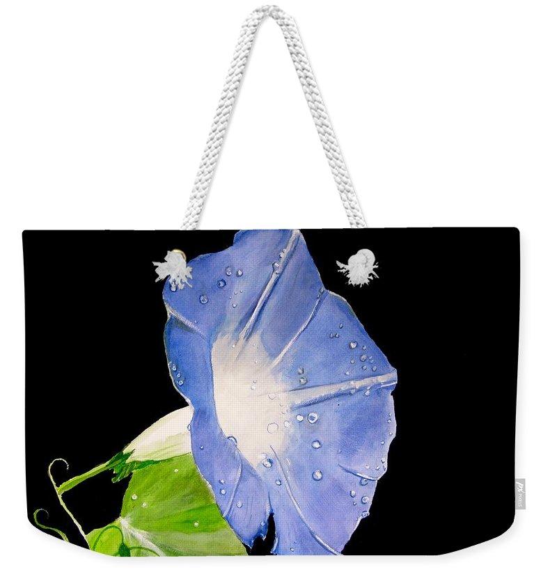Morning Glory Painting Weekender Tote Bag featuring the painting Morning Glory by Carol Blackhurst