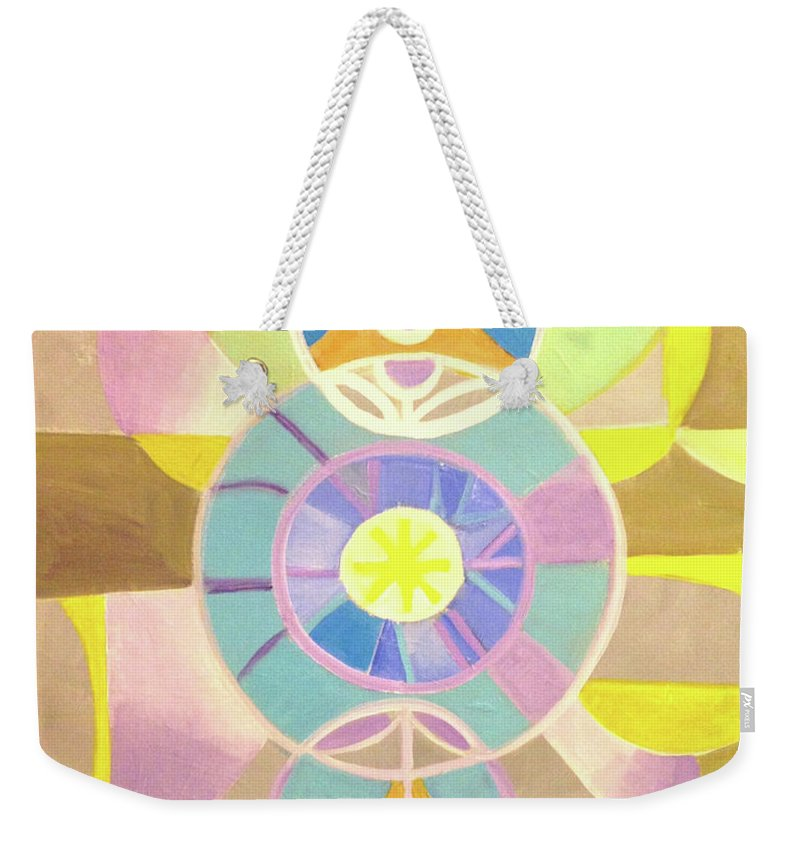 Morning Glory Weekender Tote Bag featuring the painting Morning Glory Geometrica by Suzanne Cerny