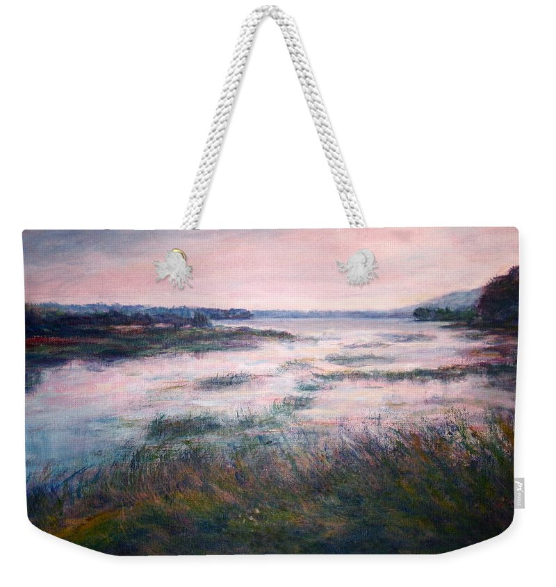 Water Weekender Tote Bag featuring the painting Morning Glow by Quin Sweetman