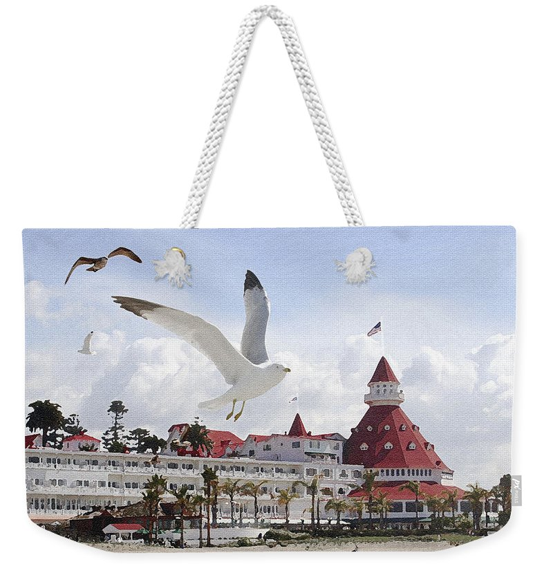 Beach Weekender Tote Bag featuring the photograph Morning Gulls On Coronado by Margie Wildblood