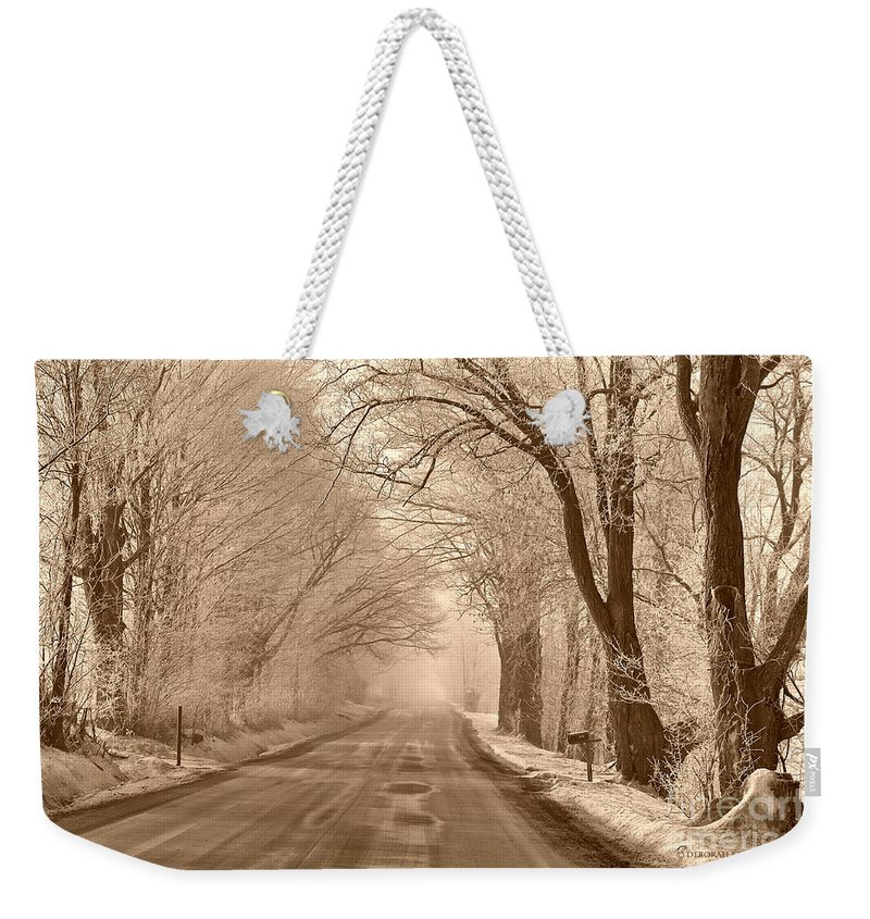 Winter Weekender Tote Bag featuring the photograph Morning Ice And Fog by Deborah Benoit